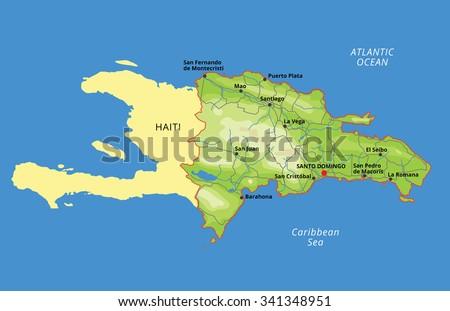 Vector Color Map Dominican Republic Capital Stock Vector - Santo domingo map