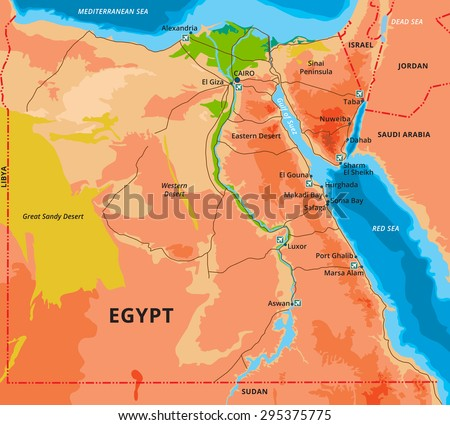 Vector Color Map Egypt Capital Cairo Stock Vector - Map of egypt with cities