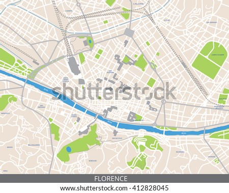 Vector color map of Florence, Italy. All objects are located on separate layers. Elements of this image are furnished by NASA. - stock vector