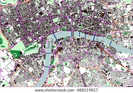 vector color map of london city of london buckingham palace all objects are