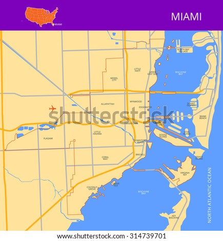 Vector color map of Miami. Elements of this image furnished by NASA. - stock vector