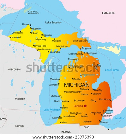 Vector color map of Michigan state. Usa - stock vector