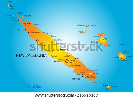 Vector Color Map New Caledonia Stock Photo Photo Vector