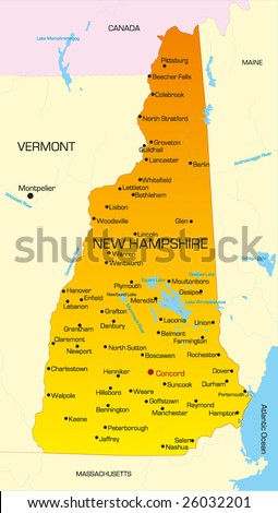 Vector color map of New Hampshire state. Usa - stock vector