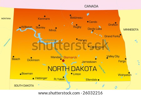 Vector color map of North Dakota state. Usa - stock vector