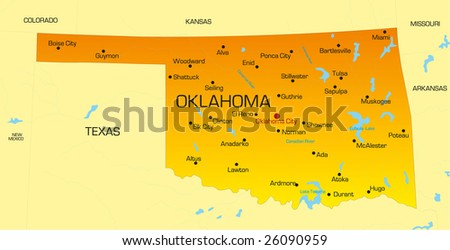 vector color map of oklahoma state usa