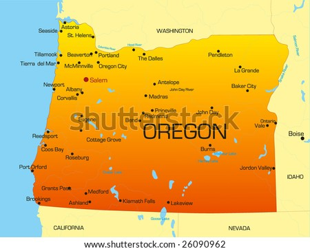 Vector color map of Oregon state. Usa - stock vector