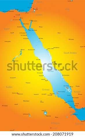 Vector color map of Red Sea region - stock vector