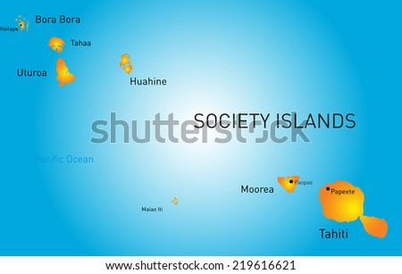 Vector color map of society island - stock vector