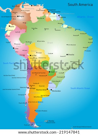 Vector color map of South America - stock vector