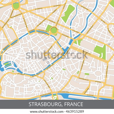 Vector color map of Strasbourg, France. All objects are located on separate layers.