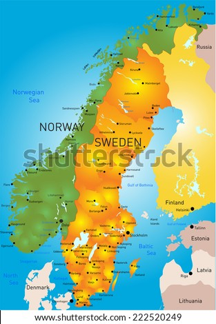 Vector color map  of Sweden country - stock vector
