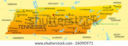 Vector color map of Tennessee state. Usa - stock vector