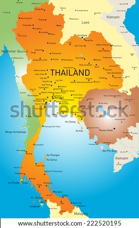 Vector color map of Thailand - stock vector