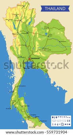 Vector color map thailand capital bangkok stock vector 559731904 vector color map of thailand with capital bangkok important cities and roads all objects sciox Gallery