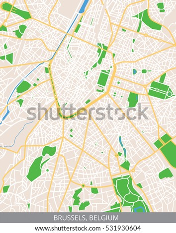 Vector Color Map City Center Brussels Stock Vector 531930604 ...
