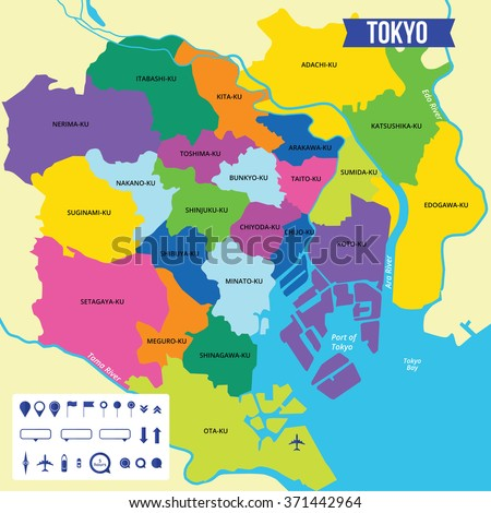 Vector Color Map Tokyo Capital Japan Stock Vector 371442964
