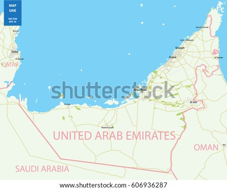 vector color map of uae vector illustration