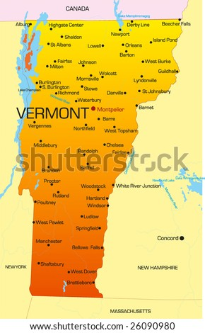 Vector color map of Vermont state. Usa - stock vector