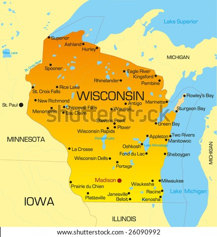 Vector color map of Wisconsin state. Usa - stock vector