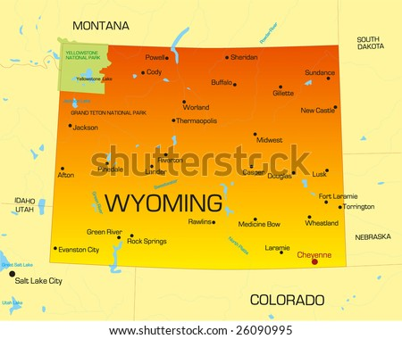 Vector color map of Wyoming state. Usa - stock vector