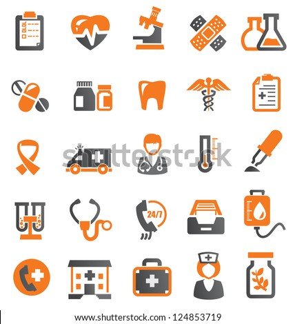 vector color medical icons set on white