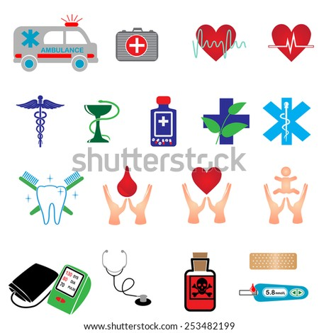 vector color medical icons set on white - stock vector