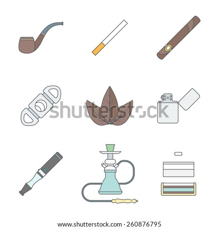 vector color outline various tobacco goods accessories icons set white background  - stock vector