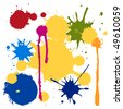 Vector color paint splashes. - stock vector