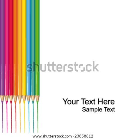 Vector color pencils illustration - stock vector