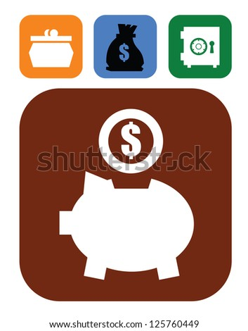 vector color piggy bank and money set on white - stock vector