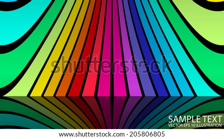 Vector color rainbow design background illustration - Abstract color curved  background illustration - stock vector