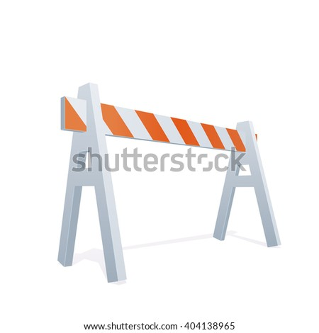Vector Color Realistic Illustration Of Traffic Barrier - stock vector