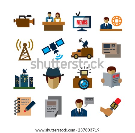 vector color reporter icons on white background - stock vector