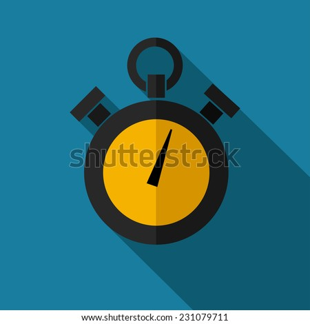 Vector color retro flat stopwatch icon. Eps10 - stock vector