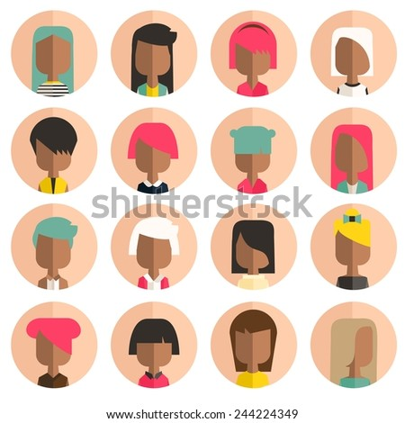 Vector color set avatar african or arabic people - stock vector