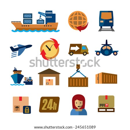vector color shipping and cargo icons on white background - stock vector