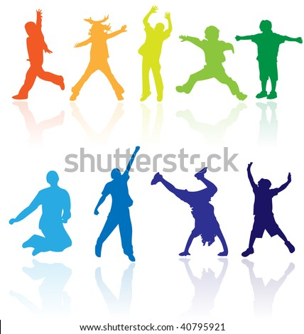 Vector Color Silhouettes Children Child Kid Activity Dance Sport Jump Background Fun Joy Have Outline Play