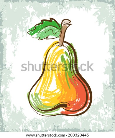 Vector color sketch of the ripe pear. - stock vector