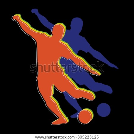 vector color soccer player silhouette. player shooting.black background - stock vector