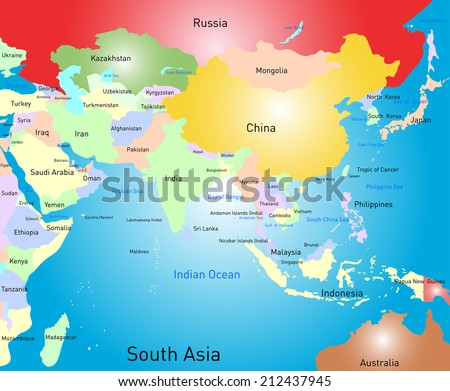 Vector color south asia map - stock vector