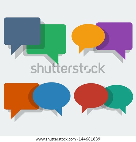 Vector color speech bubbles in 'flat' style - stock vector
