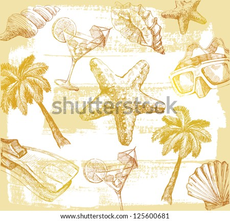 vector color summer holiday theme hand draw - stock vector