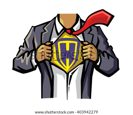vector color Superhero Chest on white background - stock vector
