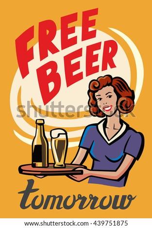 vector color symbol of Retro Beer Girl - stock vector