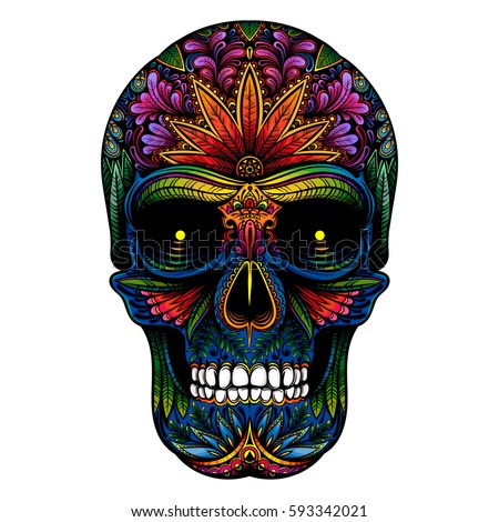 Candy skull stock images royalty free images vectors for Color skull tattoos