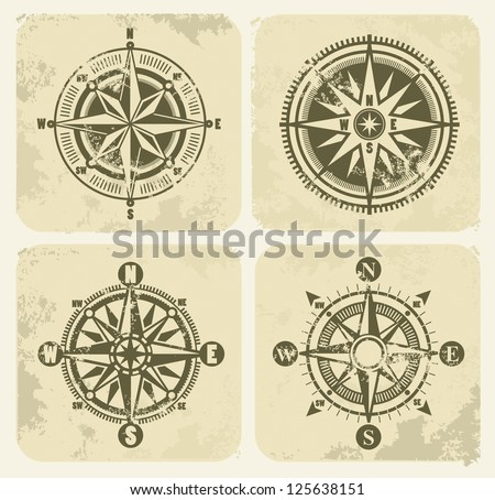 vector color vintage compasses with grunge on background - stock vector