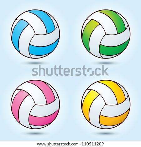 Vector 4 color volleyball ball - stock vector