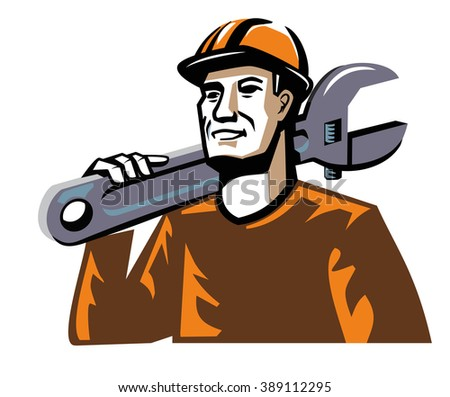 vector color worker man figure on white background - stock vector