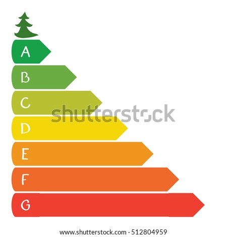 Vector colored bars of different sizes with letters and a small tree / infographics environmental growth
